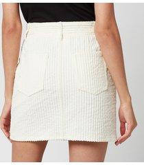 ami women's corduroy mini skirt - off white - s
