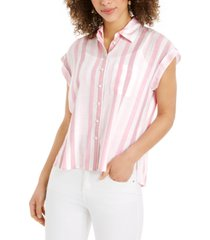 style & co striped camp shirt, created for macy's