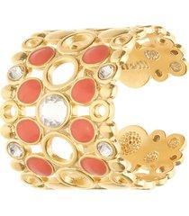 anello regolabile fascia larga in ottone rosato cristalli e smalto arancione per donna