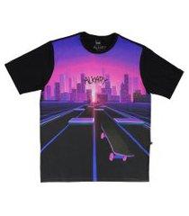 camiseta  alkary skate neon roxa