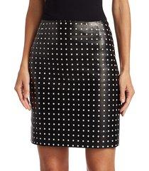 akris punto women's leather front polka dot skirt - black - size 8