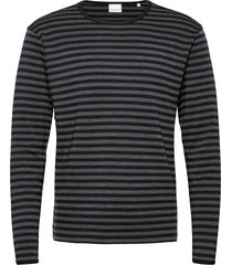 o-neck merino wool striped sweat gebreide trui met ronde kraag blauw knowledge cotton apparel