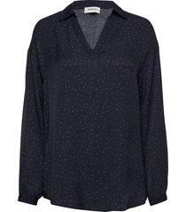 anastacia print shirt blouse lange mouwen blauw modström