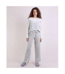 pijama feminino com recorte manga longa cinza mescla