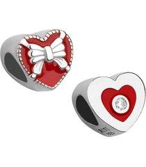 berloque joia em casa coração com laço prata