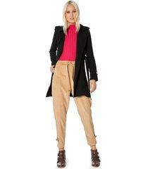amaro feminino trench coat viscose leve sarjada, preto