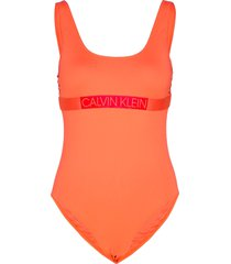scoop back piece baddräkt badkläder orange calvin klein