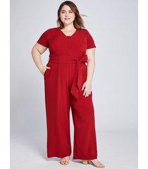 lane bryant women's lena button-front jumpsuit 24p sun-dried tomato