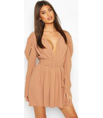 puff sleeve plunge belted skater dress, taupe