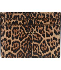 toffee leopard print card holder