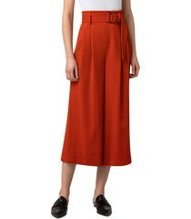 women's akris punto fiorella belted wool flannel culottes, size 16 - red
