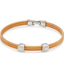 18k white gold, stainless steel & diamond cable bracelet