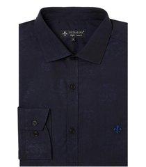 camisa dudalina manga longa jacquard fio tinto masculina (azul escuro, 6)