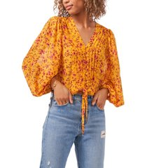 1.state button front balloon sleeve pintucked top