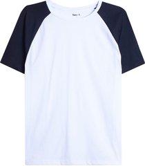 camiseta descanso m/c manga ranglan color blanco, talla m