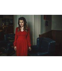 sukienka retro w czerwieni midi