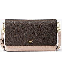 mk borsa a tracolla convertibile in pelle con logo - marrone/rosa tenue (marrone) - michael kors