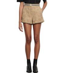 women's sandro soni tweed shorts, size 2 us / 34 fr - beige