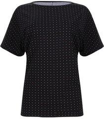 camiseta mujer puntos de color blanco y rojo color negro, talla s