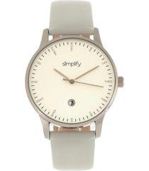 simplify quartz the 4300 silver case, genuine white leather watch 42mm