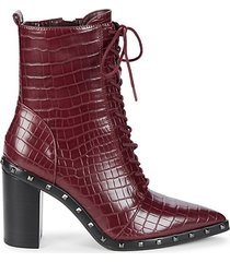 duffy embossed croc design heeled ankle booties