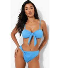 geribbeld geknoopt hoog uitgesneden bikini broekje, blue