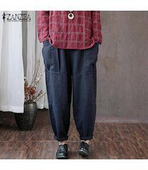 zanzea mujeres de cintura alta sólidos básicos pierna recta pantalons pantalones pantalones -azul