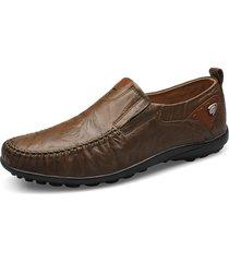 uomo scarpe da business in pelle vera slip-on a stile britannico con grande taglia stampate e morbide