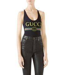 women's gucci logo one-piece swimsuit
