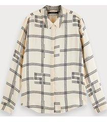 scotch & soda printed long sleeve drapey shirt