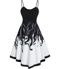 contrast octopus print asymmetric midi cami dress