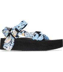 arizona love blue and yellow trekky mix bandana sandals