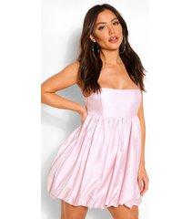 babydoll mini jurk met bandjes en pof rok, roze