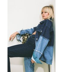 womens you're not a tone denim two-tone jacket - blue