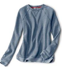 washed bird's-eye crew sweatshirt