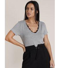 blusa feminina básica com renda manga curta decote v cinza mescla