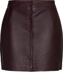 slfally mw leather skirt kort kjol lila selected femme