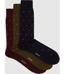 reiss mario - three pack polka dot socks in multi, mens