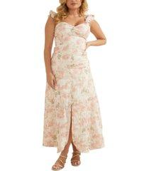guess rose-print maxi dress