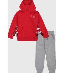 conjunto rojo-gris boboli