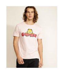 camiseta masculina garfield manga curta gola careca rosa claro