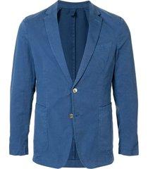boss fitted silk blazer - blue