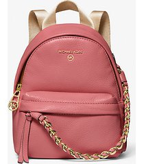 mk zaino convertibile slater extra-small in pelle martellata - tea rose - michael kors