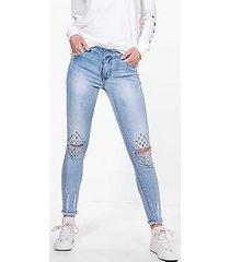 jane 5 pocket mid rise stud slit knee skinny jeans
