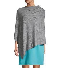 la fiorentina women's embellished plaid poncho - grey