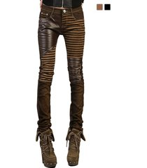 yosinacos women's leather steampunk pants skinny legging tights pencil pants
