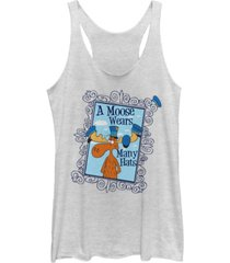 fifth sun rocky and bullwinkle moose with many hats tri-blend racer back tank
