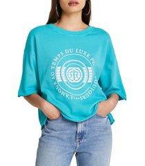 women's river island logo graphic sweatshirt, size medium - blue