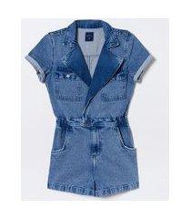 macaquinho jeans liso manga curta com bolsos | blue steel | azul | pp