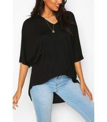 maternity v-neck hip hem t-shirt, black